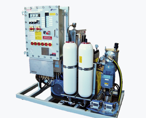 Højtryksanlæg offshore på ramme som vises i produkter